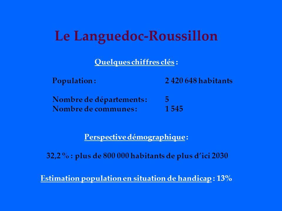 Le Languedoc-Roussillon Quelques chiffres clés : Population : 2 420 648 habitants Nombre de départements : 5 Nombre de communes : 1 545 Perspective démographique : 32,2 % : plus de 800 000 habitants de plus dici 2030 Estimation population en situation de handicap : 13%