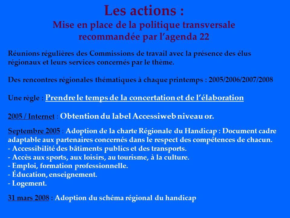 Les actions : Mise en place de la politique transversale recommandée par lagenda 22 Réunions régulières des Commissions de travail avec la présence des élus régionaux et leurs services concernés par le thème.