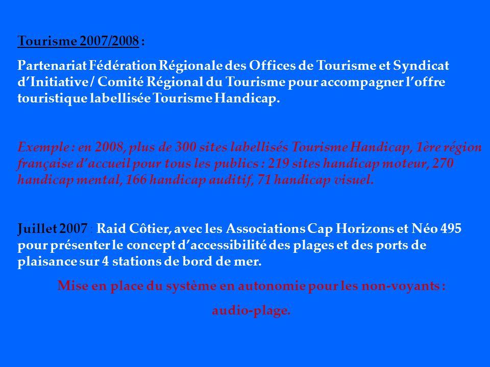 Tourisme 2007/2008 : Partenariat Fédération Régionale des Offices de Tourisme et Syndicat dInitiative / Comité Régional du Tourisme pour accompagner loffre touristique labellisée Tourisme Handicap.