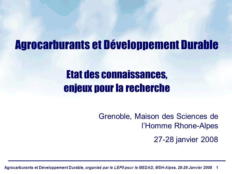 Agrocarburants et Développement Durable, organisé par le LEPII pour le MEDAD, MSH-Alpes, 28-29 Janvier 2008 1 Agrocarburants et Développement Durable Etat des connaissances, enjeux pour la recherche Grenoble, Maison des Sciences de lHomme Rhone-Alpes 27-28 janvier 2008