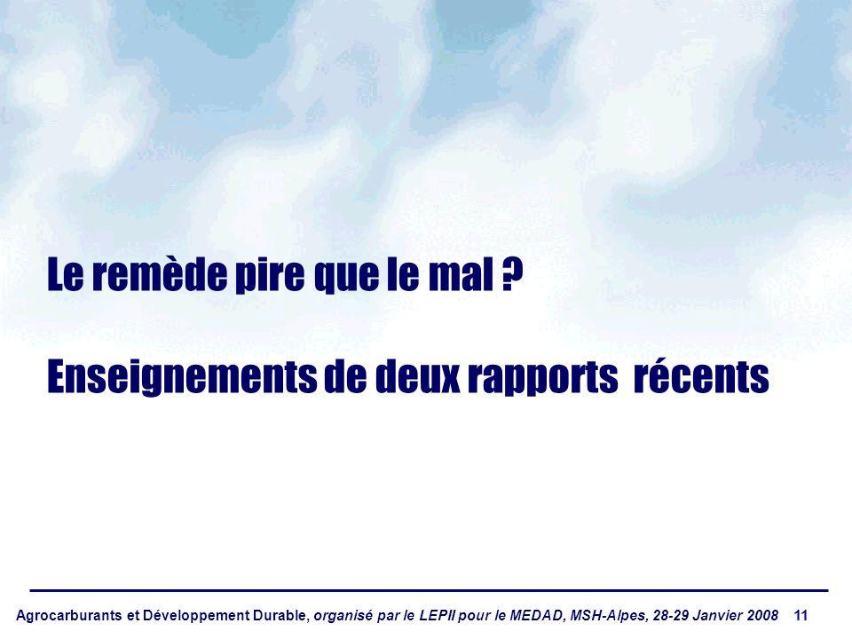 Agrocarburants et Développement Durable, organisé par le LEPII pour le MEDAD, MSH-Alpes, 28-29 Janvier 2008 11 Le remède pire que le mal ? Enseignemen
