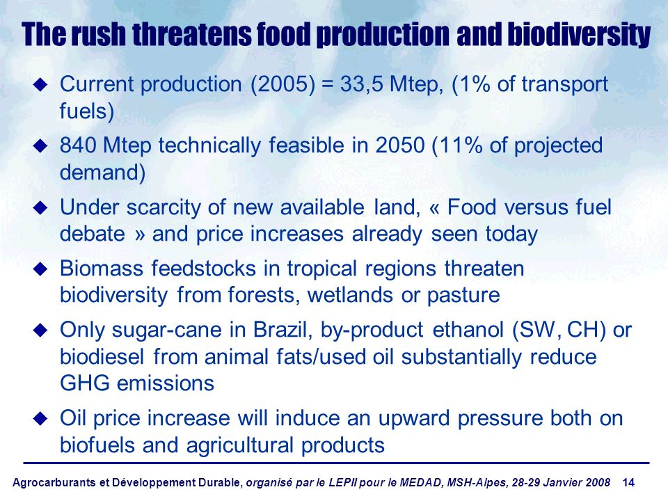 Agrocarburants et Développement Durable, organisé par le LEPII pour le MEDAD, MSH-Alpes, 28-29 Janvier 2008 14 The rush threatens food production and biodiversity Current production (2005) = 33,5 Mtep, (1% of transport fuels) 840 Mtep technically feasible in 2050 (11% of projected demand) Under scarcity of new available land, « Food versus fuel debate » and price increases already seen today Biomass feedstocks in tropical regions threaten biodiversity from forests, wetlands or pasture Only sugar-cane in Brazil, by-product ethanol (SW, CH) or biodiesel from animal fats/used oil substantially reduce GHG emissions Oil price increase will induce an upward pressure both on biofuels and agricultural products