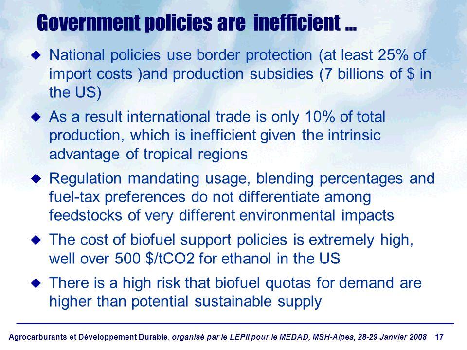 Agrocarburants et Développement Durable, organisé par le LEPII pour le MEDAD, MSH-Alpes, 28-29 Janvier 2008 17 Government policies are inefficient...
