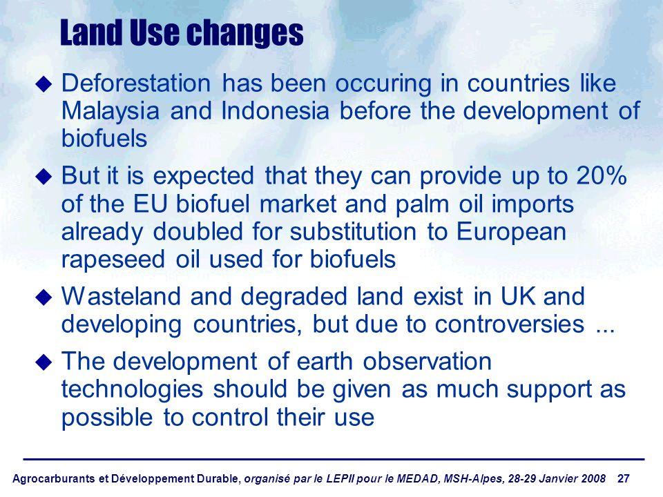 Agrocarburants et Développement Durable, organisé par le LEPII pour le MEDAD, MSH-Alpes, 28-29 Janvier 2008 27 Land Use changes Deforestation has been
