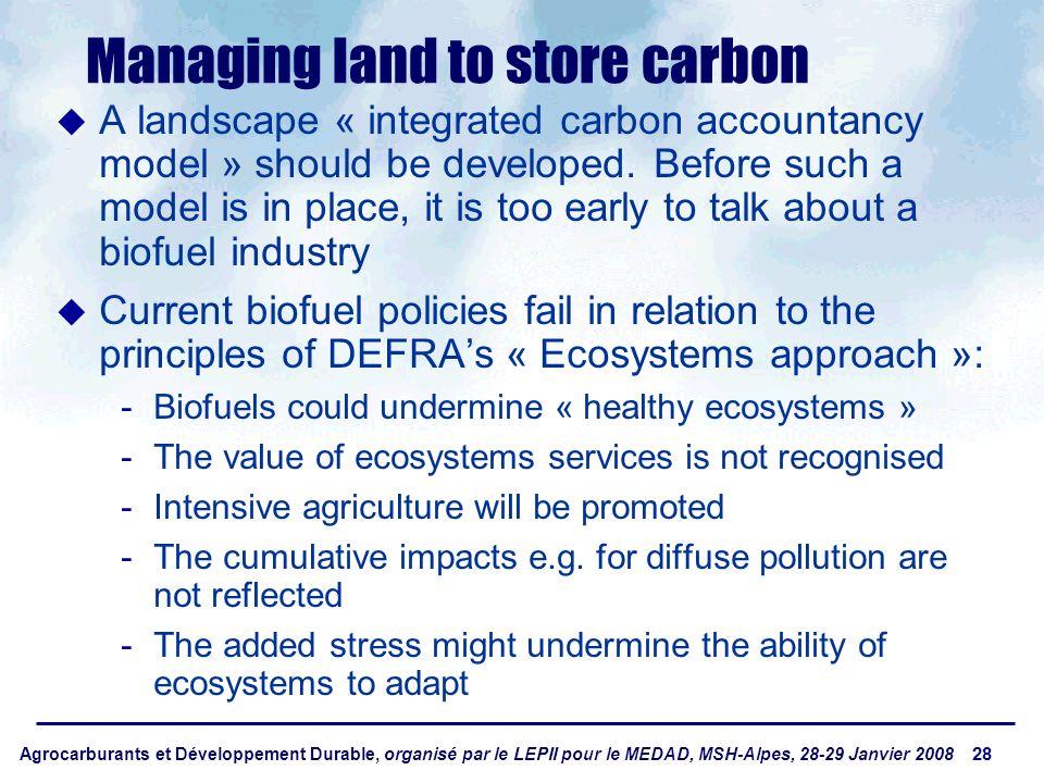 Agrocarburants et Développement Durable, organisé par le LEPII pour le MEDAD, MSH-Alpes, 28-29 Janvier 2008 28 Managing land to store carbon A landsca