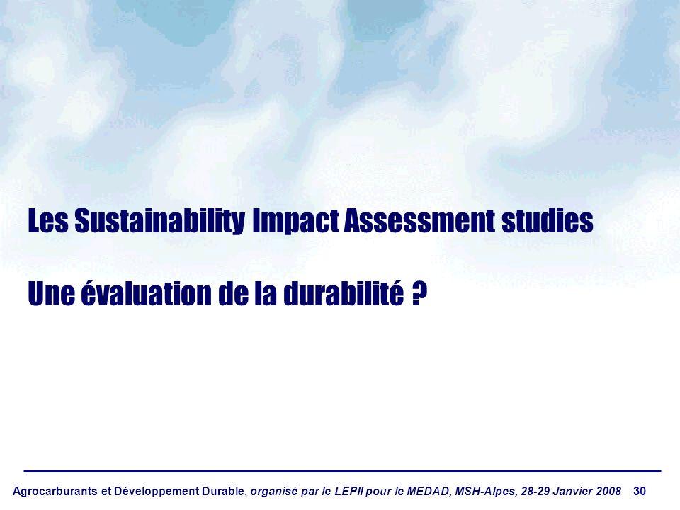 Agrocarburants et Développement Durable, organisé par le LEPII pour le MEDAD, MSH-Alpes, 28-29 Janvier 2008 30 Les Sustainability Impact Assessment studies Une évaluation de la durabilité