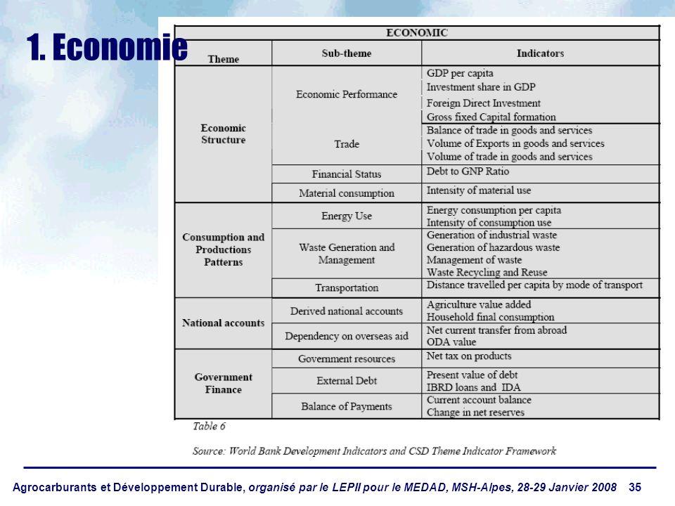 Agrocarburants et Développement Durable, organisé par le LEPII pour le MEDAD, MSH-Alpes, 28-29 Janvier 2008 35 1. Economie