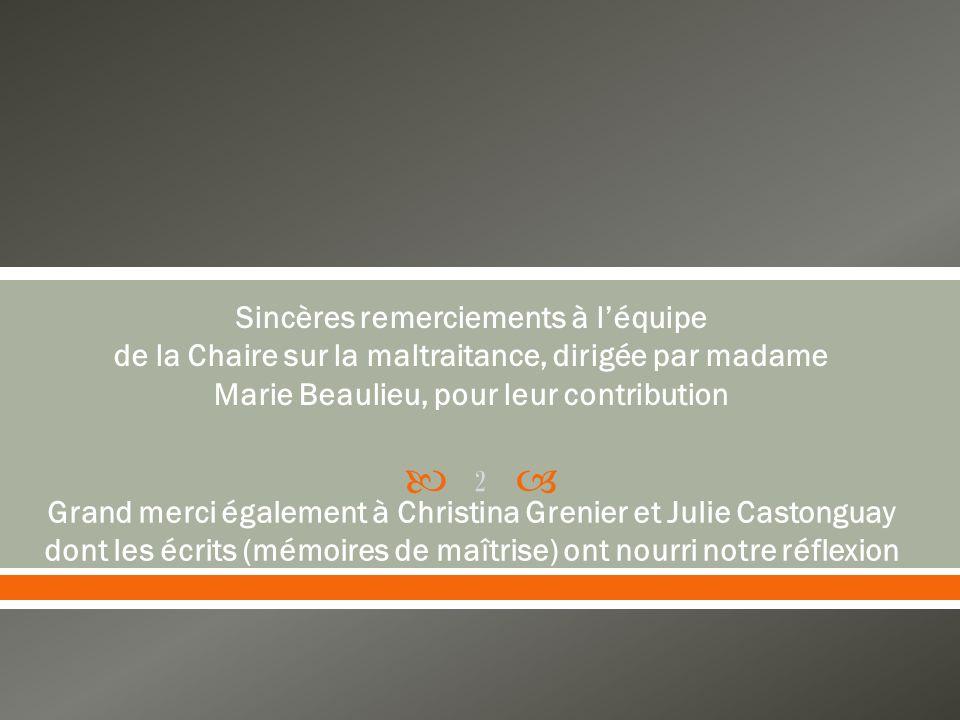 Sincères remerciements à léquipe de la Chaire sur la maltraitance, dirigée par madame Marie Beaulieu, pour leur contribution Grand merci également à Christina Grenier et Julie Castonguay dont les écrits (mémoires de maîtrise) ont nourri notre réflexion 2