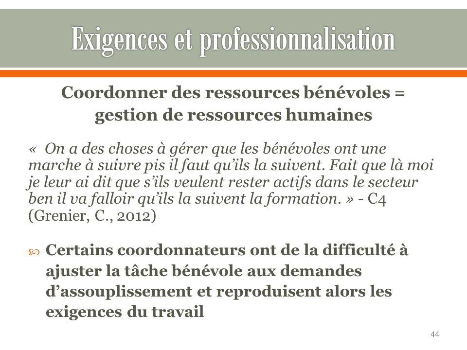 Coordonner des ressources bénévoles = gestion de ressources humaines « On a des choses à gérer que les bénévoles ont une marche à suivre pis il faut quils la suivent.