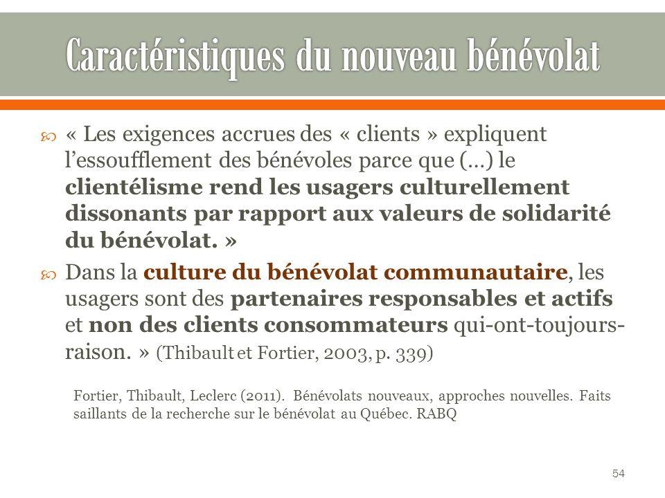 « Les exigences accrues des « clients » expliquent lessoufflement des bénévoles parce que (…) le clientélisme rend les usagers culturellement dissonants par rapport aux valeurs de solidarité du bénévolat.