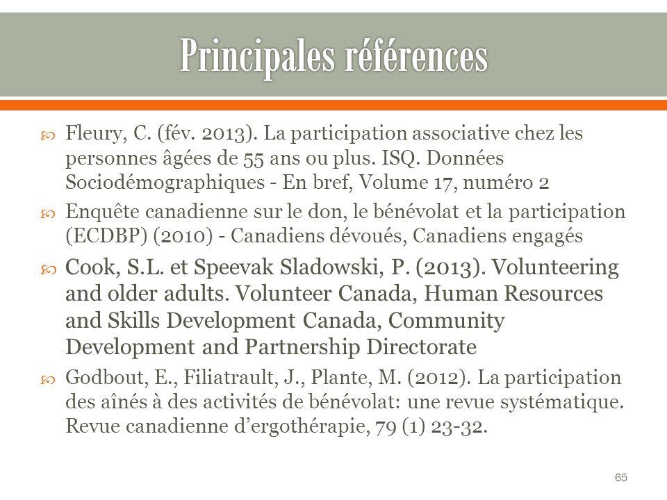 Fleury, C.(fév. 2013). La participation associative chez les personnes âgées de 55 ans ou plus.