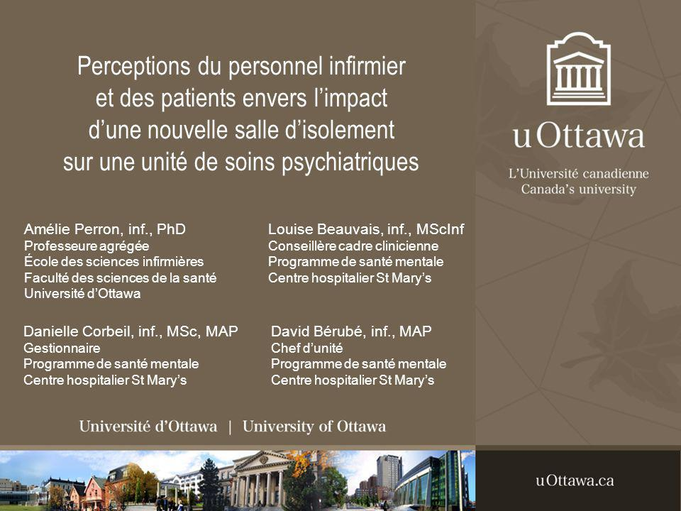 Résultats 2.Impact sur les patients Salle disolement comme espace mystérieux: IA-18: Theyll go look through the window, because its something new for them too on the ward, even for returning patients, so its curiosity….