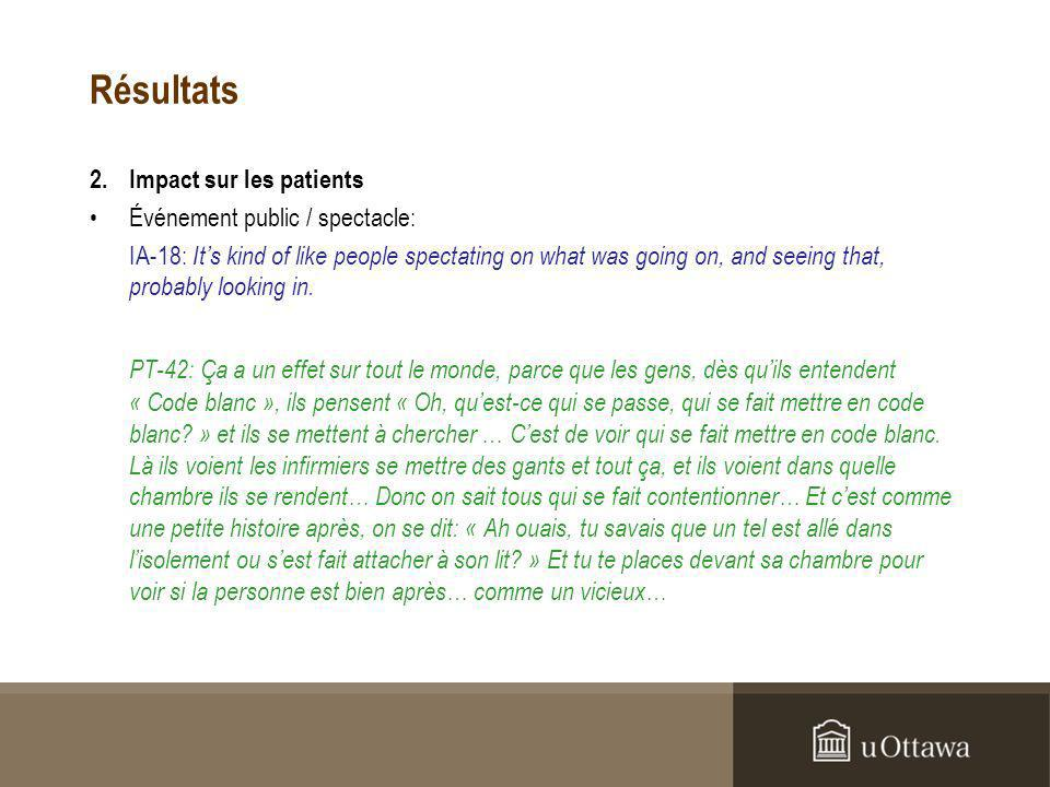 Résultats 2.Impact sur les patients Événement public / spectacle: IA-18: Its kind of like people spectating on what was going on, and seeing that, probably looking in.