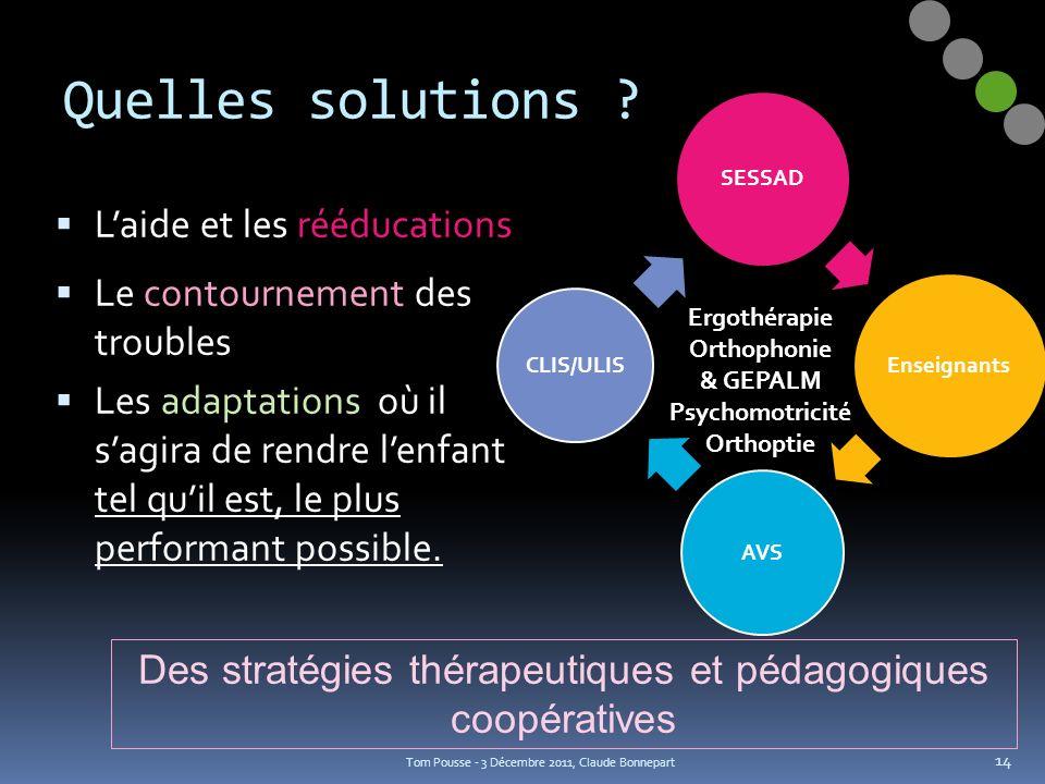 SESSAD Enseignants AVS CLIS/ULIS Quelles solutions ? Laide et les rééducations Le contournement des troubles Les adaptations où il sagira de rendre le