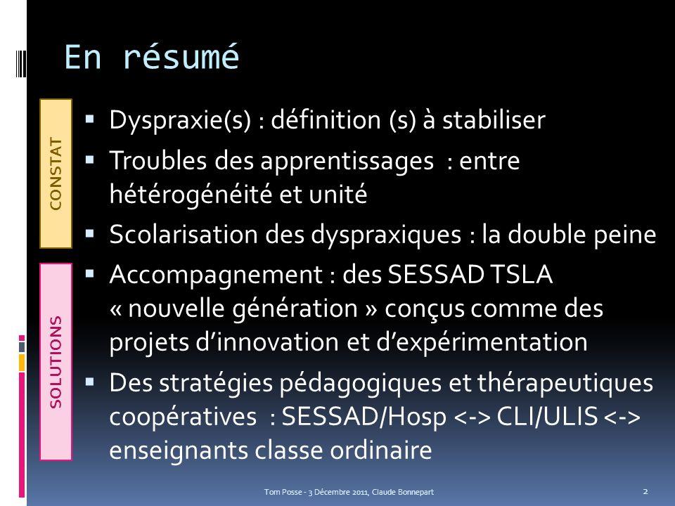 En résumé Dyspraxie(s) : définition (s) à stabiliser Troubles des apprentissages : entre hétérogénéité et unité Scolarisation des dyspraxiques : la do