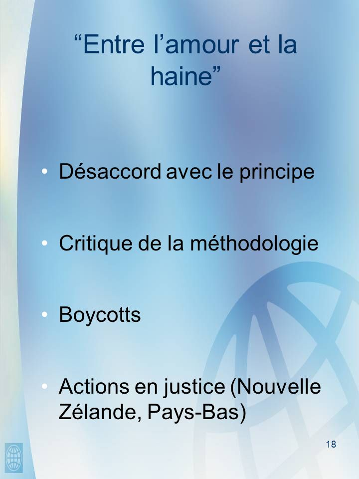 18 Entre lamour et la haine Désaccord avec le principe Critique de la méthodologie Boycotts Actions en justice (Nouvelle Zélande, Pays-Bas)