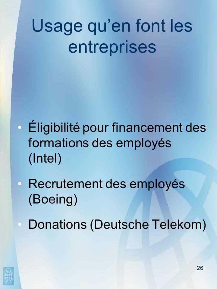 26 Usage quen font les entreprises Éligibilité pour financement des formations des employés (Intel) Recrutement des employés (Boeing) Donations (Deutsche Telekom)
