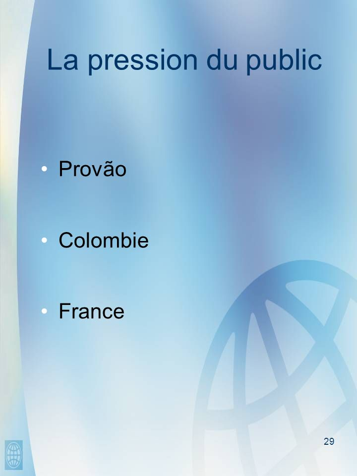29 La pression du public Provão Colombie France