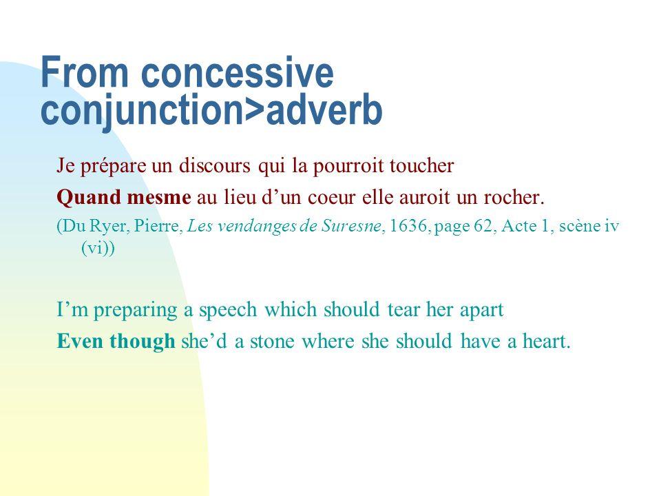 From concessive conjunction>adverb Je prépare un discours qui la pourroit toucher Quand mesme au lieu dun coeur elle auroit un rocher. (Du Ryer, Pierr