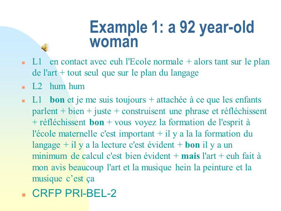 Example 1: a 92 year-old woman n L1en contact avec euh l'Ecole normale + alors tant sur le plan de l'art + tout seul que sur le plan du langage n L2hu