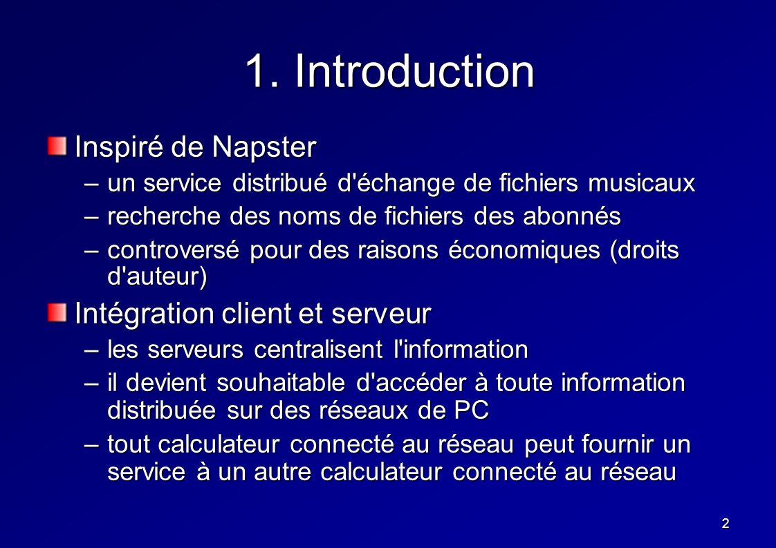 2 1. Introduction Inspiré de Napster –un service distribué d'échange de fichiers musicaux –recherche des noms de fichiers des abonnés –controversé pou