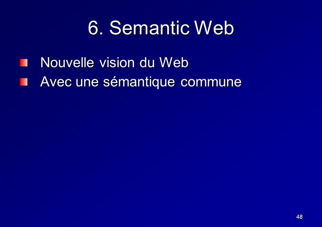 48 6. Semantic Web Nouvelle vision du Web Avec une sémantique commune