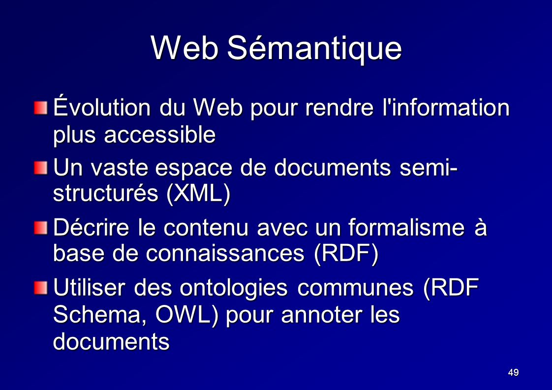 49 Web Sémantique Évolution du Web pour rendre l'information plus accessible Un vaste espace de documents semi- structurés (XML) Décrire le contenu av