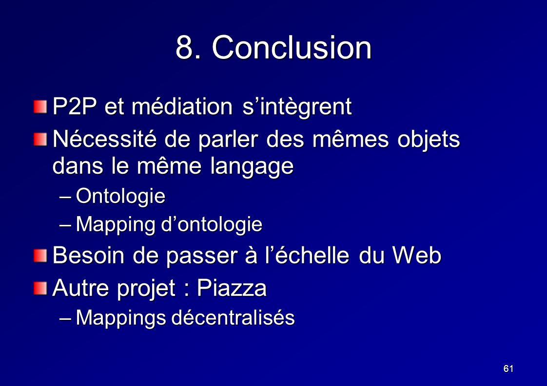 61 8. Conclusion P2P et médiation sintègrent Nécessité de parler des mêmes objets dans le même langage –Ontologie –Mapping dontologie Besoin de passer