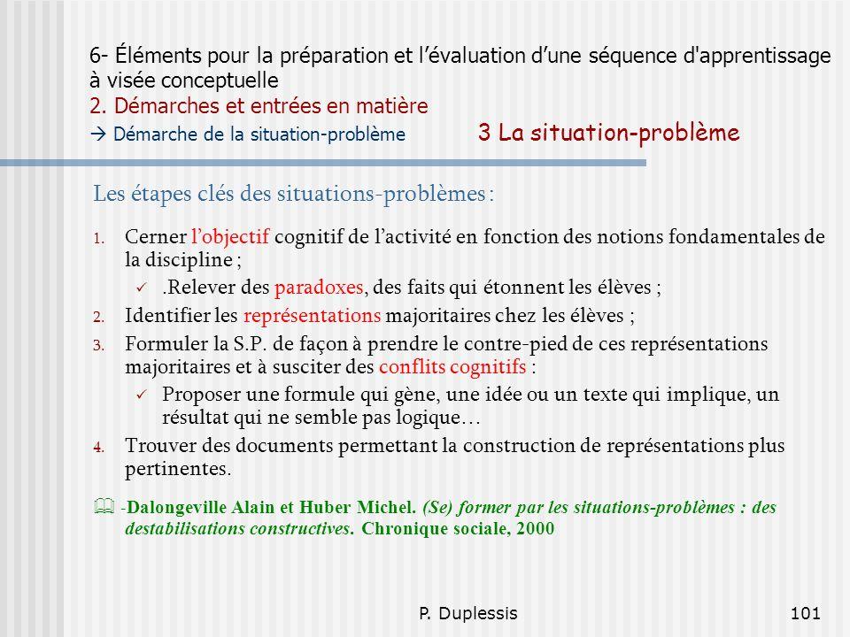 P. Duplessis101 6- Éléments pour la préparation et lévaluation dune séquence d'apprentissage à visée conceptuelle 2. Démarches et entrées en matière D
