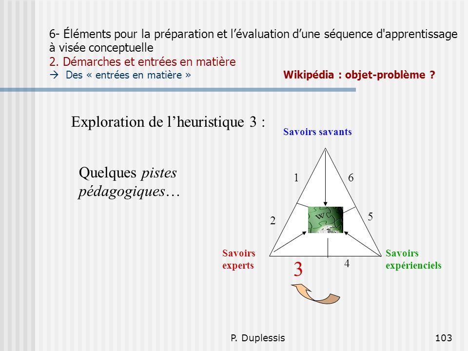 P. Duplessis103 6- Éléments pour la préparation et lévaluation dune séquence d'apprentissage à visée conceptuelle 2. Démarches et entrées en matière D