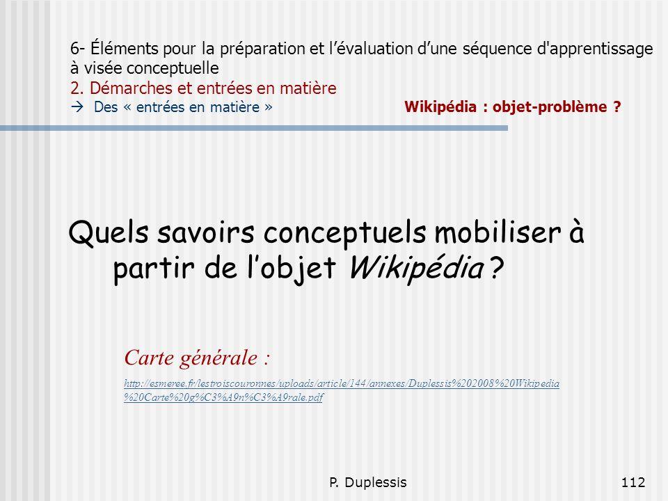 P. Duplessis112 6- Éléments pour la préparation et lévaluation dune séquence d'apprentissage à visée conceptuelle 2. Démarches et entrées en matière D