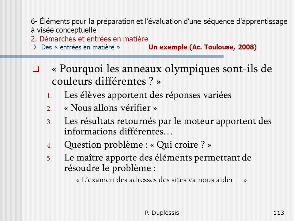 P. Duplessis113 6- Éléments pour la préparation et lévaluation dune séquence d'apprentissage à visée conceptuelle 2. Démarches et entrées en matière D