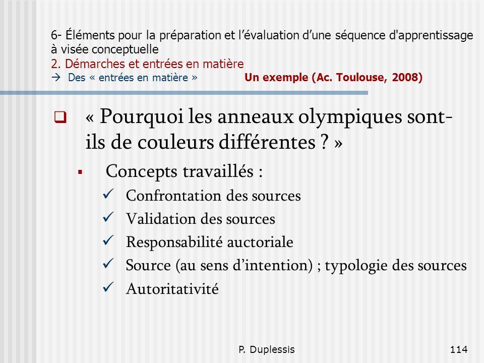 P. Duplessis114 6- Éléments pour la préparation et lévaluation dune séquence d'apprentissage à visée conceptuelle 2. Démarches et entrées en matière D