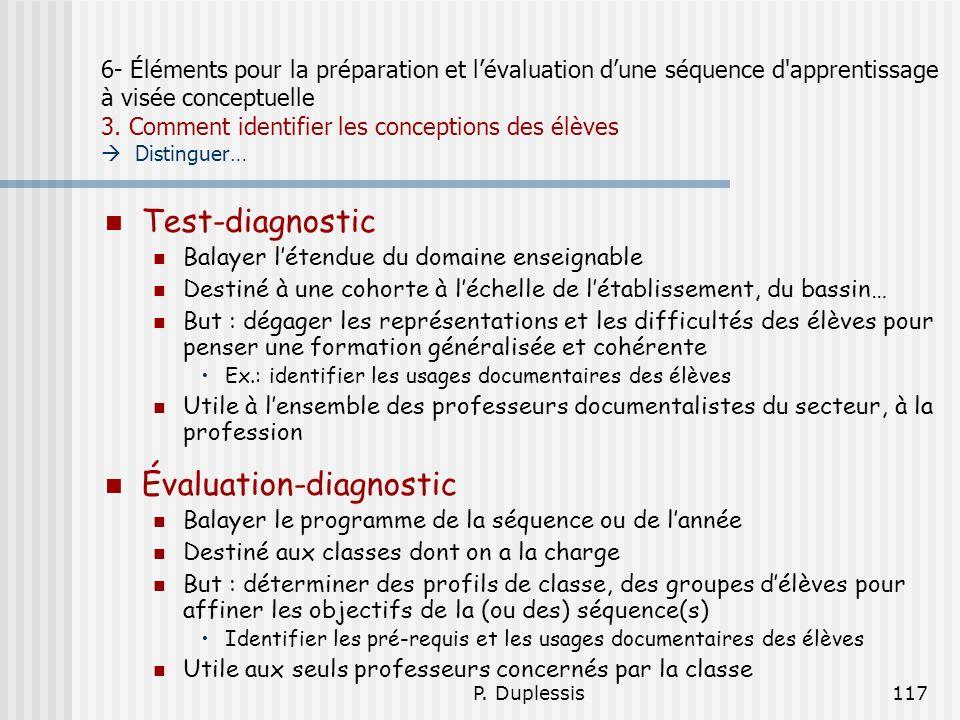 P. Duplessis117 6- Éléments pour la préparation et lévaluation dune séquence d'apprentissage à visée conceptuelle 3. Comment identifier les conception