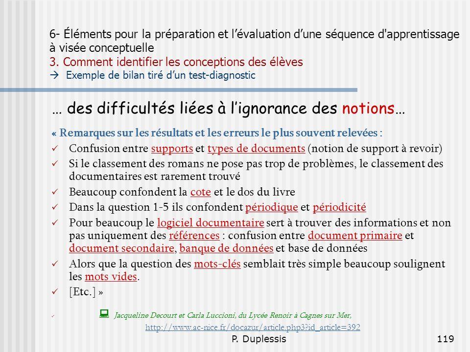 P. Duplessis119 6- Éléments pour la préparation et lévaluation dune séquence d'apprentissage à visée conceptuelle 3. Comment identifier les conception