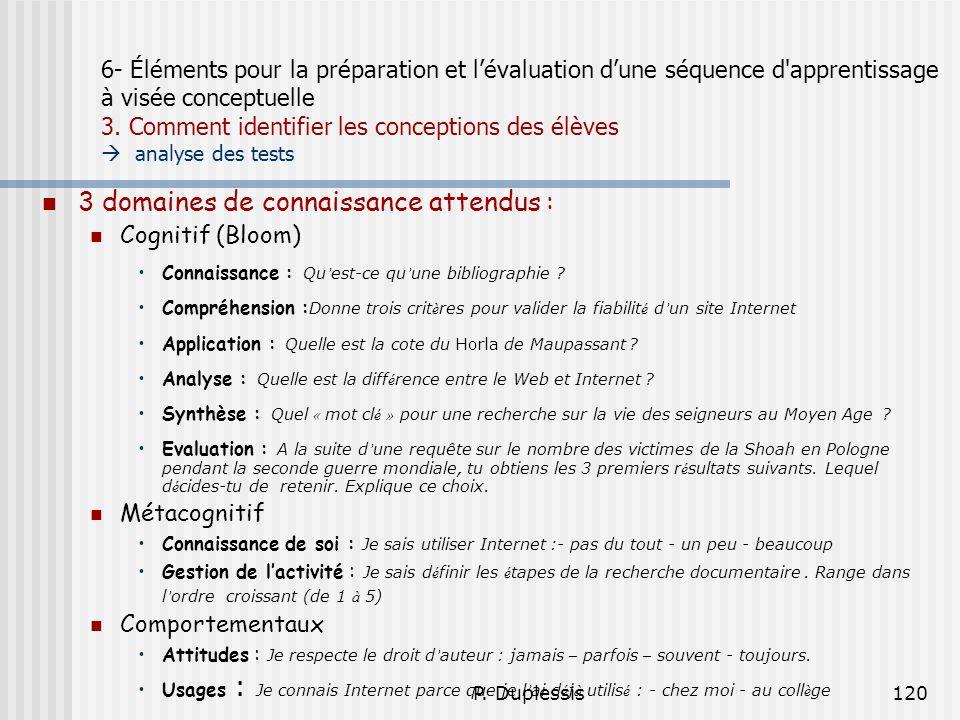 P. Duplessis120 6- Éléments pour la préparation et lévaluation dune séquence d'apprentissage à visée conceptuelle 3. Comment identifier les conception