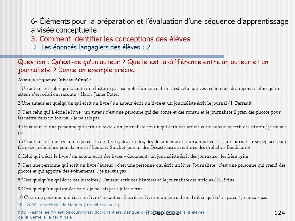 P. Duplessis124 6- Éléments pour la préparation et lévaluation dune séquence d'apprentissage à visée conceptuelle 3. Comment identifier les conception