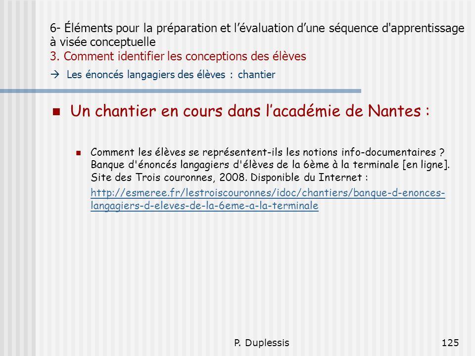P. Duplessis125 6- Éléments pour la préparation et lévaluation dune séquence d'apprentissage à visée conceptuelle 3. Comment identifier les conception