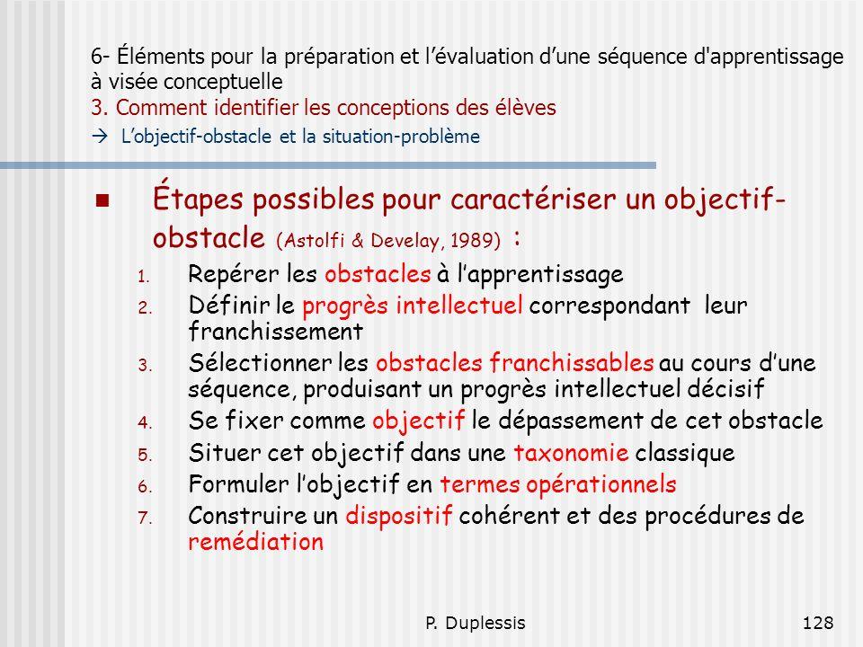 P. Duplessis128 6- Éléments pour la préparation et lévaluation dune séquence d'apprentissage à visée conceptuelle 3. Comment identifier les conception