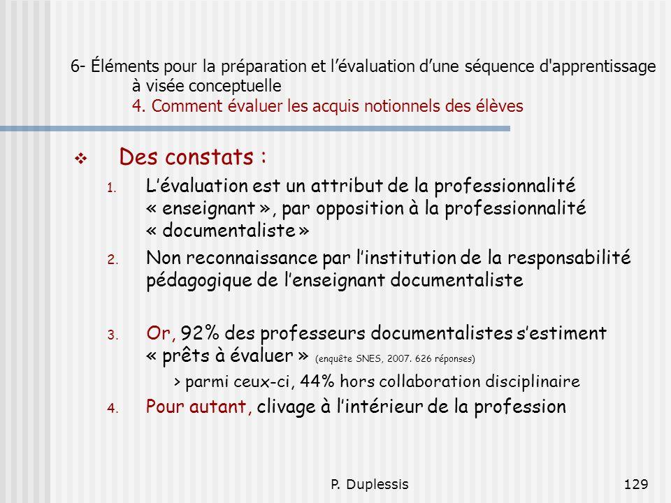 P. Duplessis129 6- Éléments pour la préparation et lévaluation dune séquence d'apprentissage à visée conceptuelle 4. Comment évaluer les acquis notion
