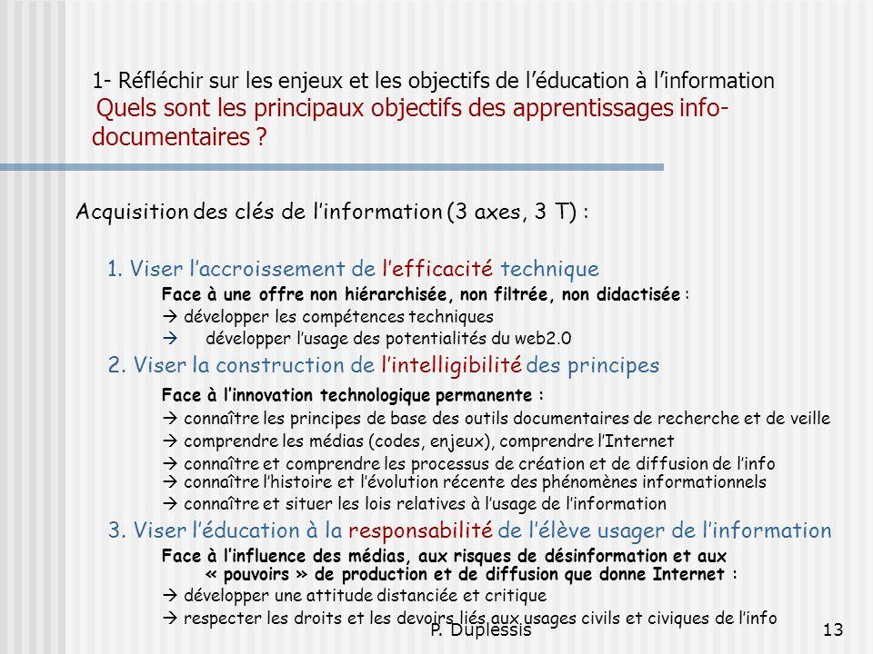 P. Duplessis13 1- Réfléchir sur les enjeux et les objectifs de léducation à linformation Quels sont les principaux objectifs des apprentissages info-
