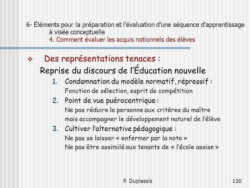 P. Duplessis130 6- Éléments pour la préparation et lévaluation dune séquence d'apprentissage à visée conceptuelle 4. Comment évaluer les acquis notion