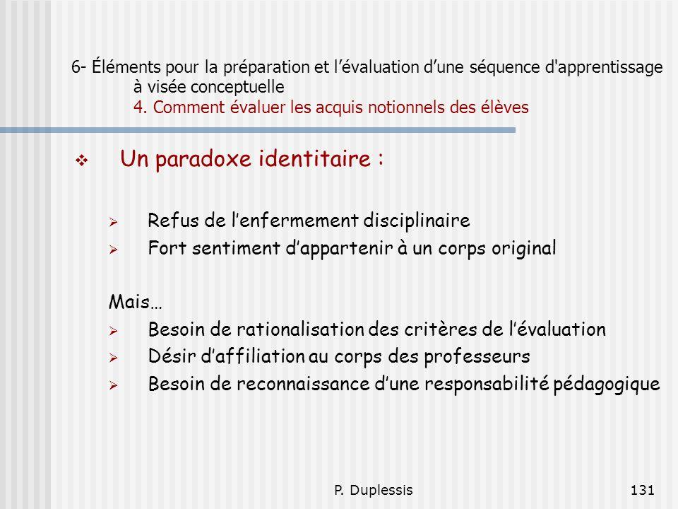 P. Duplessis131 6- Éléments pour la préparation et lévaluation dune séquence d'apprentissage à visée conceptuelle 4. Comment évaluer les acquis notion