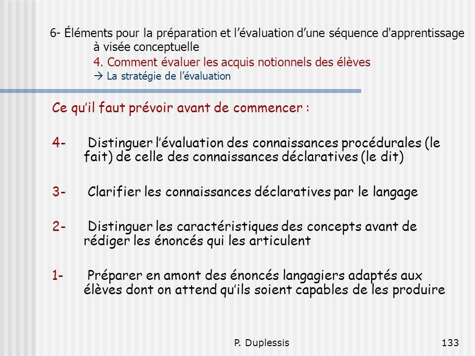 P. Duplessis133 6- Éléments pour la préparation et lévaluation dune séquence d'apprentissage à visée conceptuelle 4. Comment évaluer les acquis notion