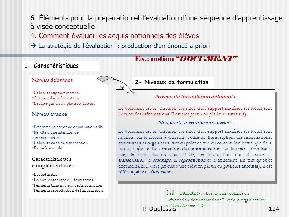 P. Duplessis134 6- Éléments pour la préparation et lévaluation dune séquence d'apprentissage à visée conceptuelle 4. Comment évaluer les acquis notion