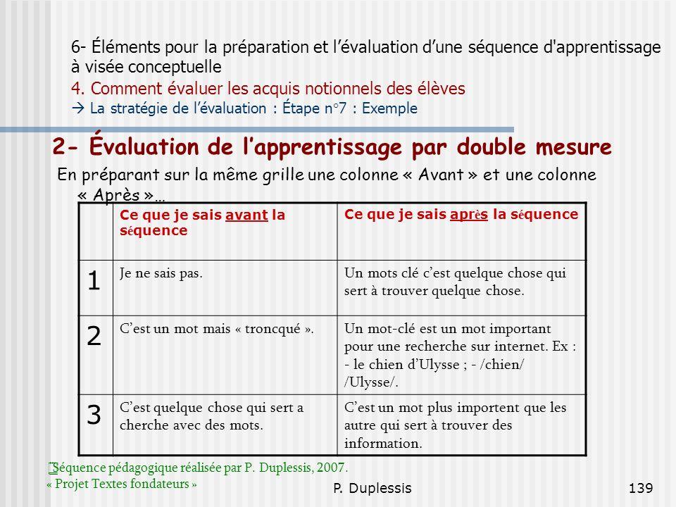 P. Duplessis139 6- Éléments pour la préparation et lévaluation dune séquence d'apprentissage à visée conceptuelle 4. Comment évaluer les acquis notion
