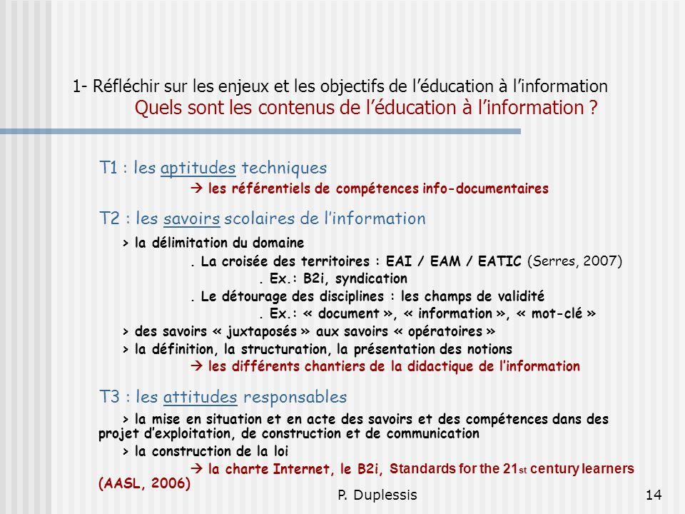 P. Duplessis14 1- Réfléchir sur les enjeux et les objectifs de léducation à linformation Quels sont les contenus de léducation à linformation ? T1 : l
