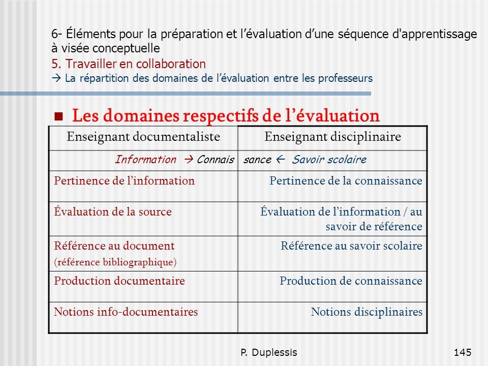 P. Duplessis145 6- Éléments pour la préparation et lévaluation dune séquence d'apprentissage à visée conceptuelle 5. Travailler en collaboration La ré