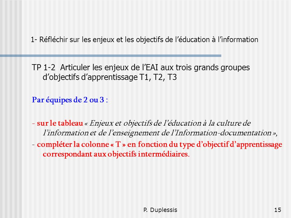 P. Duplessis15 1- Réfléchir sur les enjeux et les objectifs de léducation à linformation TP 1-2 Articuler les enjeux de lEAI aux trois grands groupes