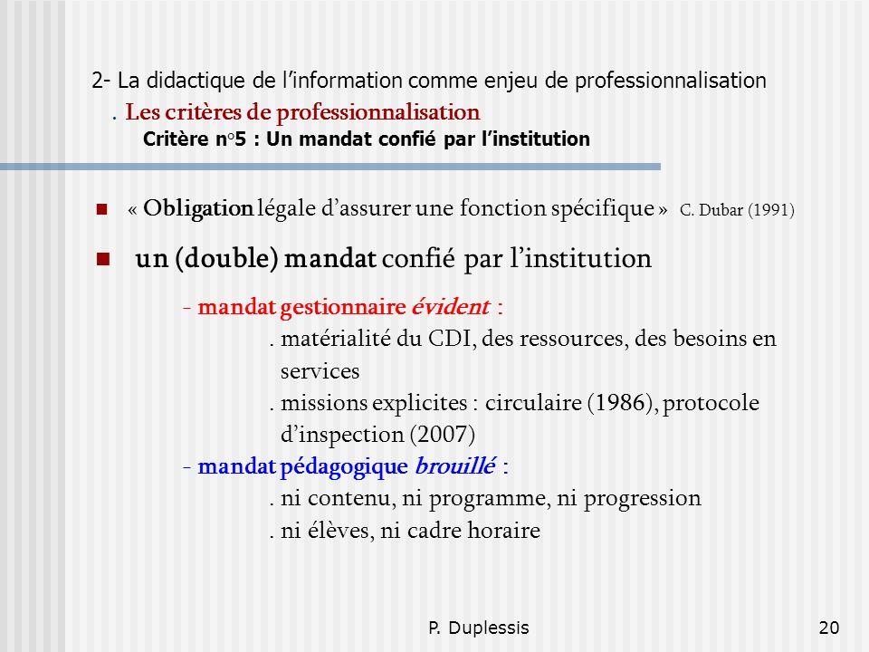 P. Duplessis20 2- La didactique de linformation comme enjeu de professionnalisation. Les critères de professionnalisation Critère n°5 : Un mandat conf